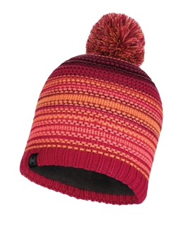 Buff knitted polar hat neper bright pink