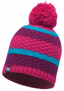 Buff knitted polar hat fizz pink honeysuckle