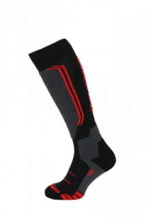 Blizzard Allround wool ski socks, black/anthracite/red, size 35-38, 18/19
