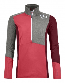 Ortovox FLEECE LIGHT ZIP NECK W hot coral - M